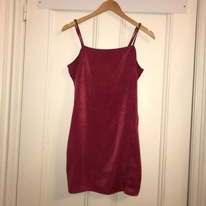 Urban Outfitters Red Silk Mini Dress Side Slit